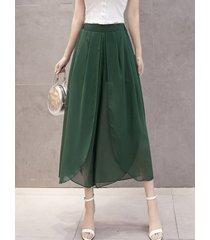 pantaloni irregolari in chiffon casual per le donne