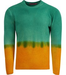 turquoise and yellow dip dye sweater