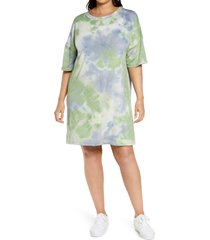 plus size women's bp. tie dye t-shirt dress, size 3x - green