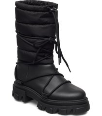 working boot shoes boots ankle boots ankle boot - flat svart ganni