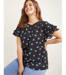 lane bryant women's flutter-sleeve tee 28p whimsical center floral