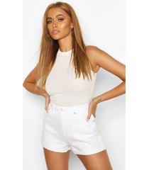 mom shorts met hoge taille en omgeslagen zoom, wit