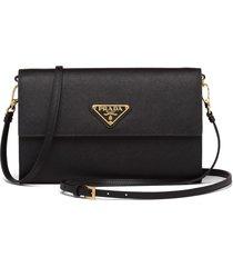 prada triangle logo strap wallet - black