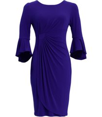 connected petite 3/4-sleeve side-ruched sheath dress