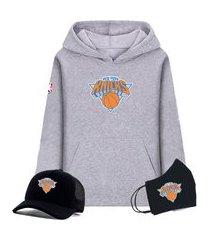 moletom canguru cinza e boné preto com máscara personalizado time de basquete new york knicks