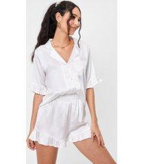 womens slumber party satin ruffle shorts pajama set - cream