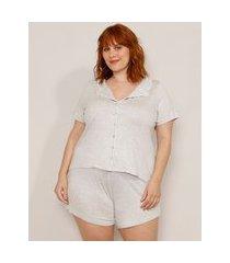 pijama plus size camisa manga curta com vivos contrastantes cinza mescla