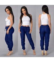 pantalones de verano para mujer pantalones casuales de cintura-azul