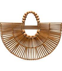cult gaia x adriana degreas wooden fan tote bag - neutrals