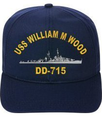 uss william m wood dd-715 embroidered ship cap