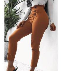 pantalones cruzados con volantes y cintura alta de doble botonadura