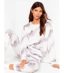 womens time to relax tie dye joggers lounge set - white