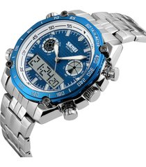 orologi da polso da uomo skmei dual dsplay digital watch cinturino in acciaio luminoso allarme da esterno