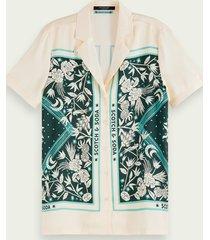scotch & soda blouse met korte mouwen, print en knoopsluiting