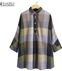 zanzea vendimia de las mujeres de manga larga solapa de tapas de la camisa a cuadros comprobar turn down cuello de la blusa -verde