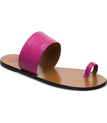 astrid fuxia printed watersnake shoes summer shoes flat sandals rosa atp atelier