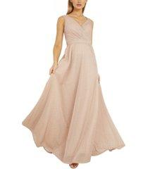 quiz v-neck glitter gown