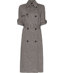 we11done short sleeve belted trench coat - grey