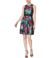 laundry by shelli segal metallic floral-print fit & flare dress