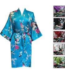women kimono silk satin bath robe pajamas sleepwear peacock purple / black / red