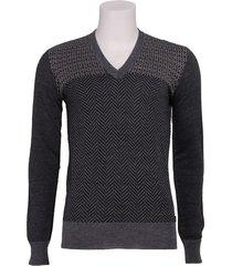 ian v neck pullover - energie - truien en vesten - grijs