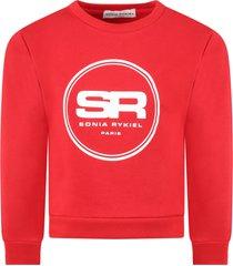 sonia rykiel red sweatshirt for girl with logos