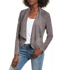 women's blanknyc faux suede drape front jacket