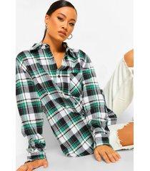 geborstelde geruite super oversized blouse