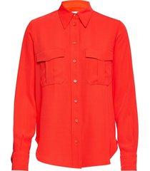 smooth twill police pkt shirt ls overhemd met lange mouwen rood calvin klein
