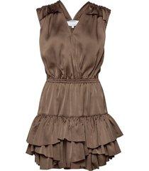 ruffled front wrap dress kort klänning brun designers, remix