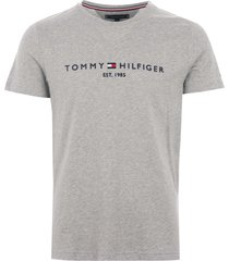 tommy hilfiger logo t-shirt - cloud mw0mw11465