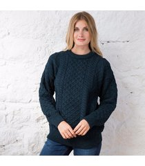 women's springweight new wool crew neck sweater dark green small