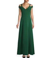 cold-shoulder flare gown