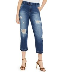 guess belted ripped cropped jeans