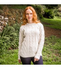 ladies' connacht aran sweater cream m