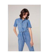 macacão jeans com elastano