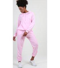 conjunto con capucha liso rosa night concept