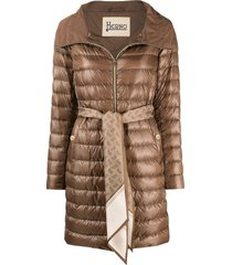 herno scarf belted padded coat - brown