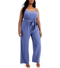 bar iii plus size sleeveless wide-leg jumpsuit, created for macy's