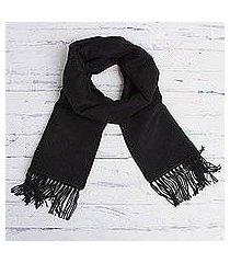alpaca blend scarf, 'ebony gift of warmth' (peru)