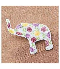ceramic brooch pin, 'pretty floral elephant' (thailand)