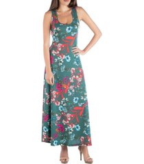 24seven comfort apparel sleeveless botanical print a-line maxi dress