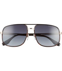 marc jacobs 60mm aviator sunglasses in gold havana/dark grey grad at nordstrom