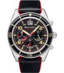 spinnaker men's fleuss chrono black genuine leather strap watch 43mm