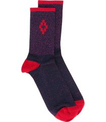 marcelo burlon county of milan cross lurex short socks - purple