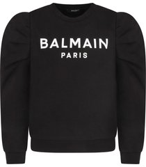 balmain black sweatshirt with whitelogo for girl