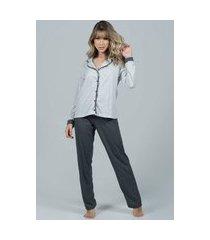 pijama feminino serra e mar modas longo com botões imperium cinza