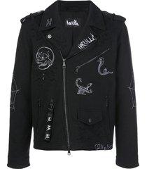 haculla thunder motorcycle embroidered jacket - black