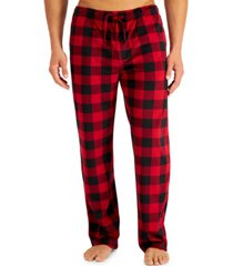 club room men's buffalo plaid fleece pajama pants, created for macy's
