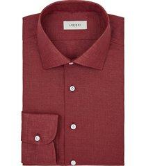camicia da uomo su misura, albini, lino rosso, primavera estate | lanieri